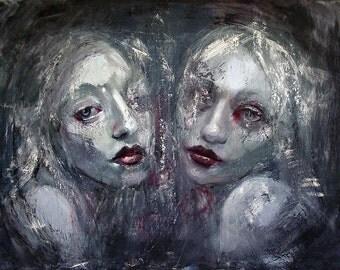 "11 x 14 Fine Art Print, ""The Red Rose Twins"", dark surrealism, pop surrealism, dark art, low brow, dark fantasy art,creepy art, Gothic art"