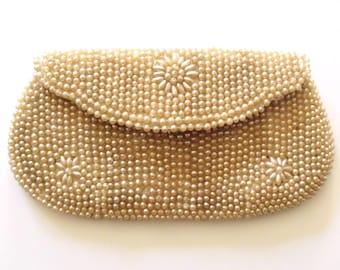 1940s Pearl Handbag Clutch / WW2 Hand Beaded Evening Purse