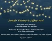 Rush Custom Listing for doorbell83 - Hanging Light, String Light Wedding Invites, Midnight Blue and Yellow, Bokah Discount Wedding