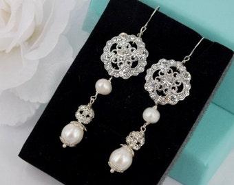 Freshwater Pearl and Rhinestone Bridal Earrings