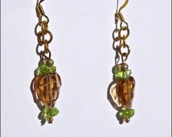 Amber Leaf & Green Peridot Earrings ( E426)