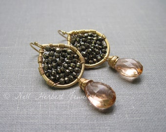 Pyrite and Champagne Quartz Gold Dangle Earrings, Gemstone Woven Earrings, Handcrafted Gemstone Jewelry