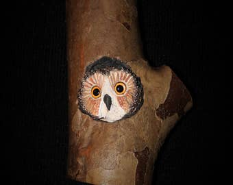 Wood Bird Carving -  Owl Art - OOAK -  Hand Carved and Sculpted