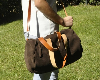 READY to SHIP leather bag, duffle bag, shpulder bag - TUBO model in brown leather