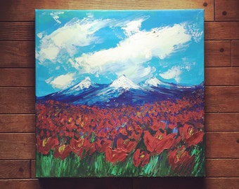 READY TO SHIP 20x20 Red Poppies and Mountain Landscape Original Art