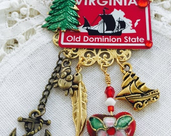 VIRGINIA  Brooch -  Old Dominion State PiN - Southern USA Collage Jewelry