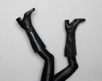 Knee High BLACK LEATHER Boots 90s Mod Grunge 90s Vintage Size 8.5 US