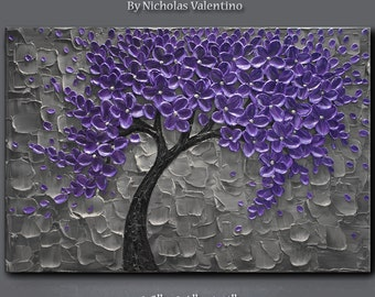 """Large 36""""x24""""x1.5"""" Original Textured Impasto Abstract Painting on Gallery Canvas - Purple Blossom Tree Wall Art Palette Knife FREE SHIPPING!"""