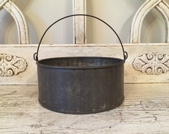 Small Industrial metal Pail - Rusty and Rustic