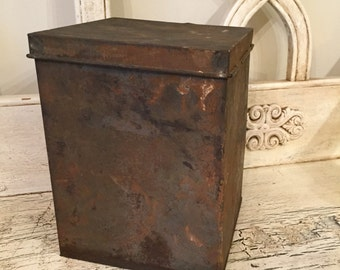 Small Industrial metal Box with hinged lid- Rusty and Rustic