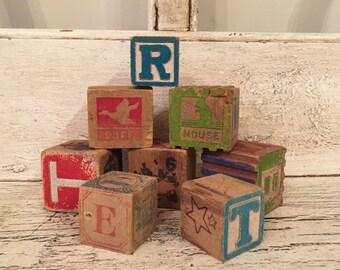 8 Small Vintage Alphabet Nursery Blocks - Great for Baby Showers, Nursery Decor