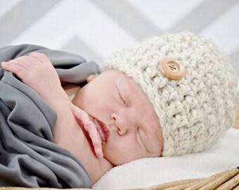 Chunky Hat/Beanie Hat/Beige Hat/Cream Hat (0-2 months)