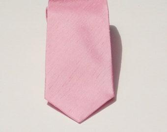 Pink candy shantung neck tie. Slub textured necktie pink skinny or standard made to order