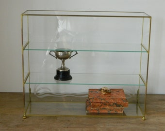 Vintage Brass and Glass Display Cabinet.