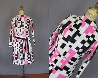 Pink, Black, & White Graphic Long Sleeve Print Dress / 60's / small - medium / womens design print pattern tetris