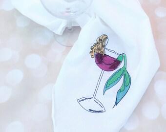 Blonde Mermaid In Wine Dish Towels Flour Sack Dish Cloth