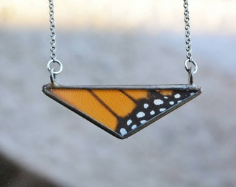 Monarch Triangle Necklace - Butterfly Wing Geometric Necklace