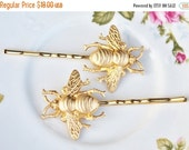 SALE Brass Honeybee Bobby Pins,Set of Two,Highly Detailed,Golden Bee Hair Pins,Bridal,Whimsical,Shabbby Chic,Outdoor Wedding,Bridal Hair Pin
