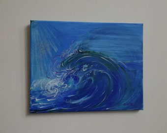 Ollin Abstract painting signed Acrylic on canvas Not necessary framing gift Blue