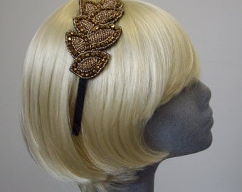 Gold Beaded Leaf Headband - Gold Beaded Leaf Motif Gatsby Headband