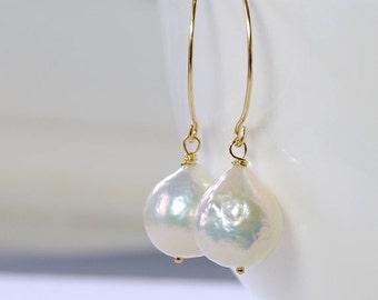 SALE Baroque Pearl Earrings. White Pearl Earrings by Agusha. Wedding Earrings
