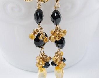 Spinel Gold Filled Dangles by Agusha. Black Spinel Earrings. Black and Gold Gemstone Earrings. Gemstone Cluster Earrings