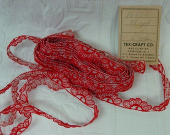 """Vintage Trim, Very Nice Embroidered Nylon, Red, 4 Yards 28"""", Doll Clothes, Crafts 3/8"""" Wide"""
