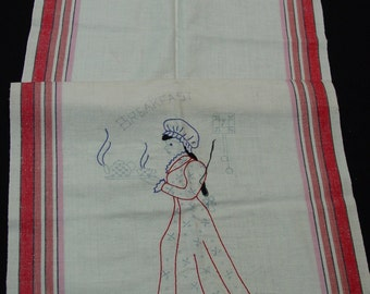 Vintage Towel Stamped to Embroidered, Bucilla Cutie, You Finish, Red Stripes