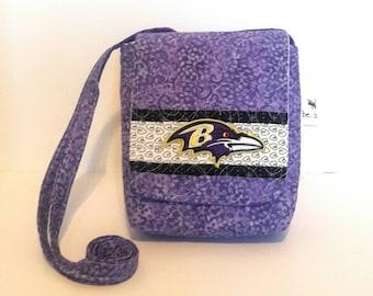 Quilted Cotton Crossbody Bag in Baltimore Ravens Design Quilted Ravens Handbag
