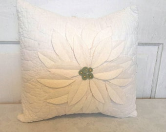 Vintage Quilt Pillow with Poinsettia