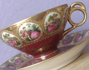 Vintage 1960's Love Story teacup and saucer, Lefton Fragonard tea cup, Japanese tea cup, Porcelain tea cup, Red and gold china teacup