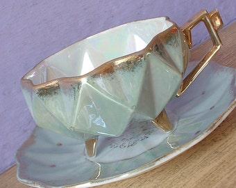 Vintage Green Porcelain teacup and saucer, Royal Sealy china tea cup, Japanese tea cup, Green tea cup, Iridescent tea cup, Footed tea cup