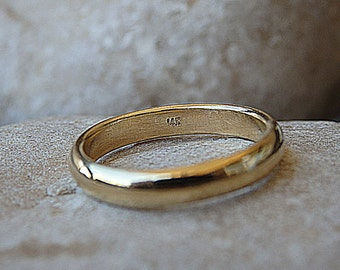 simple plain wedding band 14k solid gold ring womens mens gold wedding band for - Simple Wedding Rings For Her