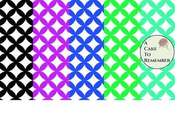 Digital download--black, green, teal, purple and blue Printable wedding ring quilt pattern wafer paper file for cake decorating