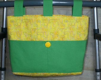"""Adult Walker Bag Tote Purse - Yellow w/Purple & Green, Sour Apple Green Pockets and Straps, Bright Yellow """"Sun"""" Button"""