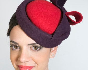 Double felted hostess hat- red and purple