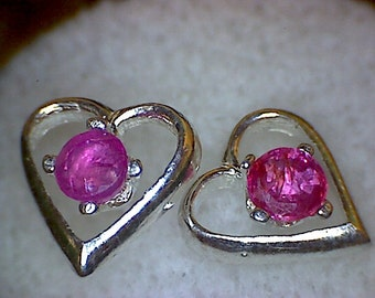 Beautiful Ruby Heart Earrings
