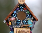 Mosaic Stone Birdhouse for your Garden with J. Garcia Cork, Turquoise, stars, disco and colorful crystals