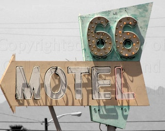 Old Motel 66 Sign from California's Route 66 Enhanced Photograph  on Black & White Background Americana Wall Hanging Home Deco