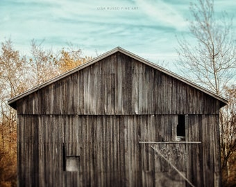 Aqua Barn Landscape Print or Canvas Wrap, Rustic Barn in Grey, Teal Sky, Country Landscape, Rustic Barn Picture, Teal Barn Photography.