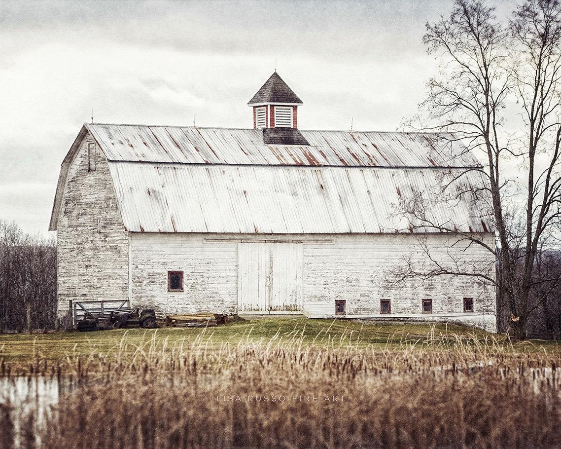Primitive White Barn Landscape Art Fixer Upper Decor