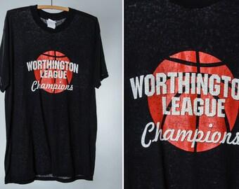 Vintage Basketball T Shirt Worthington League Champions Columbus Ohio L Destroyed Graphic Super Soft Paper Thin 50/50 Cotton Poly Blend 15MM