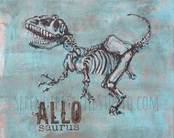 Allosaurus on Canvas  Dinosour Art Print - 1 of 2