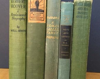 Vintage decorative book lot in shades of green