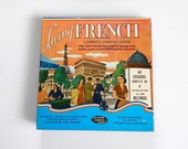 ON SALE Living French Record - French Language Course - Living French Language Course - Vintage French Record Set
