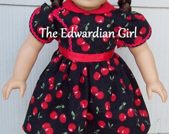 Two of a kind cherry print red black dress 1930s, 1940s dress for 18 inch play dolls such as American Girl, Springfield, OG. Made in USA