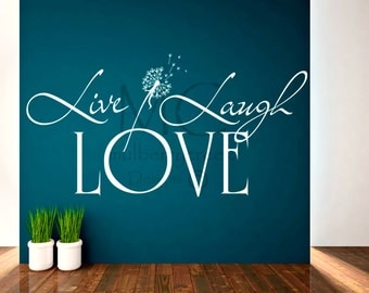 Vinyl Decal Live Laugh Love-Vinyl Decals with Dandelion-Vinyl Decals
