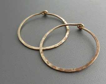 Hammered Gold Hoop Earrings  1 inch Gold Hoop Earrings
