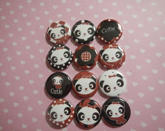12 Panda Bear Animals Pinback Button Party Favors Brooches