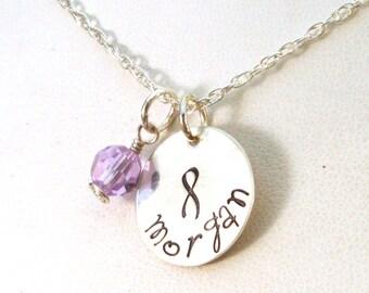 Hodgkins Lymphoma Awareness Jewelry - Hodgkins Disease Awareness Necklace - Personalized Testicular Cancer Awareness Necklace